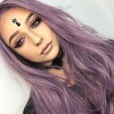 "Long Wavy Synthetic Lavender Purple Lace Front Wigs For Women Heat Resistant 22"""