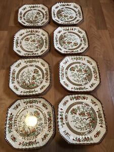 SPODE COPELAND VINTAGE INDIAN TREE MULTI COLOR SQUARE LUNCHEON PLATE SET OF 8