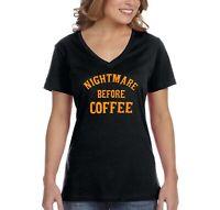 Halloween T-shirt NIGHTMARE BEFORE COFFEE pumpkin scary Women vneck shirt