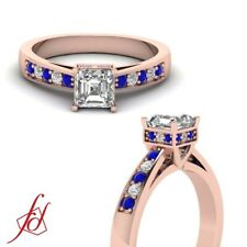 3/4 Ct Pave Set Cathedral Diamond Rings For Her With Asscher Cut And Sapphire