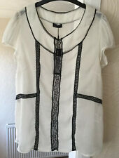 VERO MODA IVORY & BLACK SHEER BLOUSE SIZE XL NEW WITH TAGS AT £30
