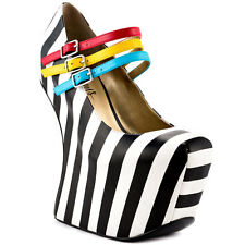 Taylor Says Iris - Goth Black White Leather Pump Platform Heels sz 7  M404