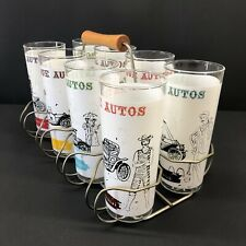Vintage Anchor Hocking Antique Auto Tumbler Glass set of 8 with Caddy 16oz Cups