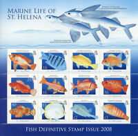 St Helena Fishes Stamps 2008 MNH Fish Definitives Gurnard Mullet Hogfish 12v M/S