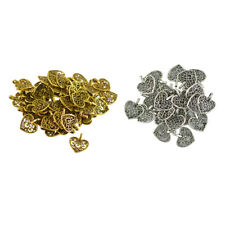100Pcs Antique Silver/Gold Filigree Heart Charms Pendant For Jewelry Making