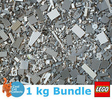 Genuine Lego 1kg / 1000g Bundle of Mixed Grey Bricks Joblot + Free Minifigure