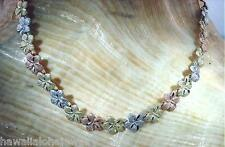 "Matted Plumeria Flower Anklet 9"" #1M 5.5mm Hawaiian Solid 14k Tri-Color Gold Dc"