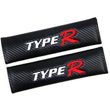 2xFiber Car Logo Seat Belt Safe Shoulder Cushion Mat Fits Honda Type R Carbon