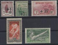 AF142242/ FRANCE – Y&T # 162 - 163 - 168a - 183 - 185 MINT MNH – CV 160 $