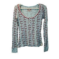 Free People Women's Size Medium Blue Floral Henley Long Sleeve Fitted Top