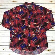 Vtg Wrangler Western Shirt Steer Rodeo Cowboy Cut 17.5-35 XL 90s Purple LS