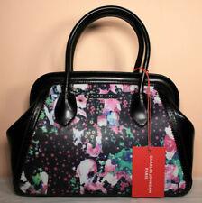 CHARLES JOURDAN PARIS black / floral VIVA 2 leather satchel handbag NWT