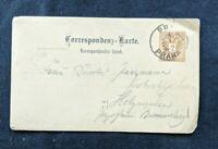 1890 Prague Austria Postal Stationary Postcard Cover Overprint