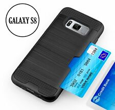 For Samsung Galaxy S8 - HARD HYBRID CREDIT CARD SLOT POCKET HOLDER CASE BLACK