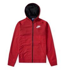 Nike TECH KNIT AV15 Full Felpa Con Cappuccio E Cerniera Giacca Cappotto Rosso Nero Taglia Media 883025 608