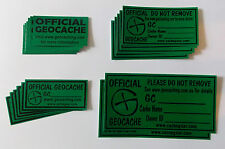 18 x various size Cache stickers for Geocaching black print on green