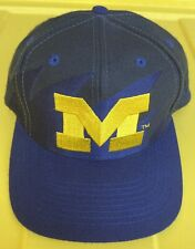 Vintage 90s Michigan Wolverines Logo Athletic Blackdome Sharktooth SnapBack Hat