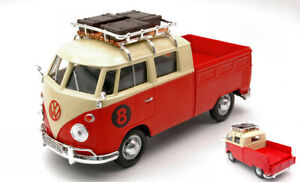 Volkswagen VW Modèl 2 (t1) 1965 Pick Up With Roof Rack Rouge / Cream 1:24 Model