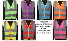 Coloured Hi Vis High Viz Childrens Vest Visibility Waistcoat Jacket Kids Childs