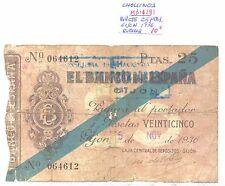BILLETE DE 25 PESETAS AÑO 1936 GIJON ( roturas ) ( MB11281 )