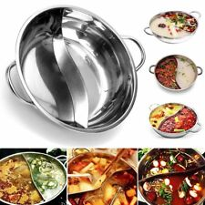 38cm Stainless Steel Cookware Shabu Twin Dual Site Hot Pot Induction Compatible