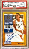 2018-19 Panini Contenders #118 Zhaire Smith ON CARD Auto RC GOLD PSA 10 POP 1
