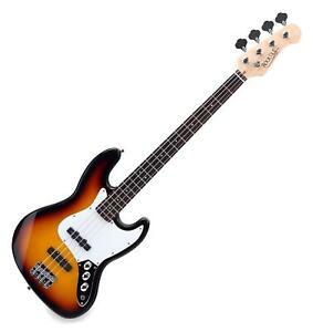 Basse Electrique Guitare de Jazz Bass 21 Frettes 4 Cordes Acier Fini Sunburst