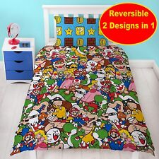 NINTENDO SUPER MARIO SINGLE DUVET QUILT COVER SET BOYS KID BED BEDROOM GIFT