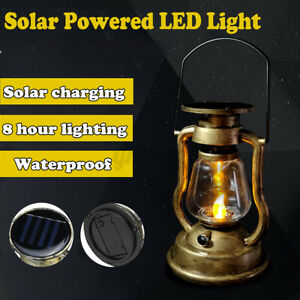 Vintage LED Solar Powered Hanging Lantern Lights Outdoor Garden Candle Lamp