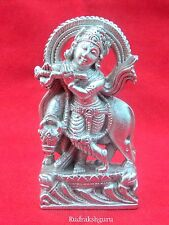 Lord Krishna Made in Pure Parad / Krishna with Cow in Mercury - 211 gm - 3 inch