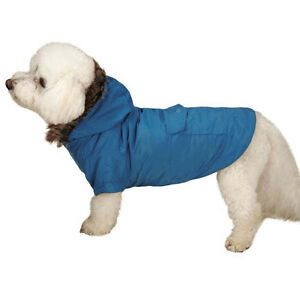 Dog Fur Trimmed Parka Coat Jacket Hood Hooded  Blue Black Pet Winter XXS-XL