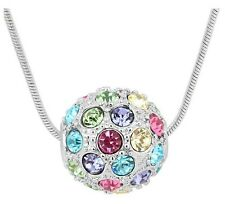 SHAMBALLA STYLE ARGENT & multicolore boule disco Collier N100