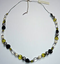 Anna Nova Jewellery Silver Ball, Green, Black, White Clear Beads Necklace 5313A