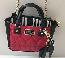 BETSEY JOHNSON Mini Satchel  Black & White Red Heart Purse Crossbody Bag
