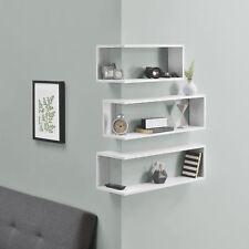 en.casa® Étagère de coin en 3 pièces étagère murale d'angle MDF Blanc