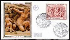 FRANCE FDC - 1641 4 TABLEAU SCULPTURE JEAN BAPTISTE CARPEAUX 1970 sur soie