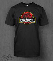 Nintendo Super Mario T-Shirt Bowser's Castle MEN'S Jurassic Park Smash Bros
