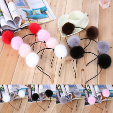 Womens Girl Warm Pom Fur Ball Furry Ears Headband Hair band Head Accessory