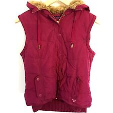 American Eagle Women's Hooded Vest Sleeveless Sz L Maroon/Purple Nylon Polyester
