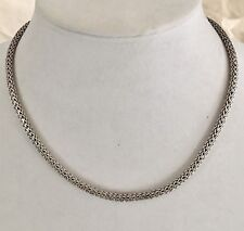 """Vintage Sterling Silver Necklace Wheat Weave Oval Shape 18.5"""" 45grams"""