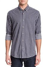 NWT $98 Cutter & Buck Yaletown Check Mystery Woven Button Down Shirt Size S Blue