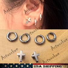 Cross & 7mm Stainless Steel Tube Hoop Ear Ring Stud Earrings Mens Womens 3Pairs