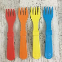 RePlay Toddler Utensils Lot of 4 Forks Recycled Milk Jugs Plastic Baby BPA Free