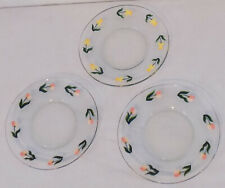 Set of 3 Hand Painted Dessert Plates Spring Flowers Daffodils & Tulips