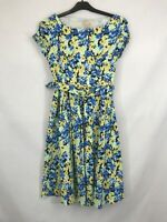 Lindy Bop ladies dress a-line belted short sleeve floral blue mix size 10 003