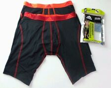"""Adidas Men's Boxer Briefs 2 Pack M Black 9"""" Midway Long Athletic Red Neon Mrp$28"""