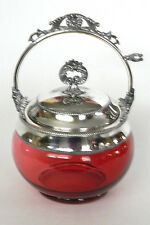 Antique VICTORIAN Cranberry Glass Jam & Honey Jar with Silverplate