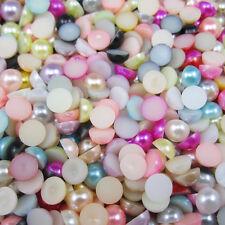 NEW 50pcs mix Half Pearl Beads Flat Back 10mm Scrapbook for Craft FlatBack 18