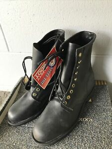 """VTG Georgia Work Boot 8"""" Steel Toe Black Leather Made In USA NOS BOX SZ 8.5 R"""