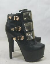 "Black/gold 6.5""high heel 2.5""platform blacks sole sexy ankle boots  size  7"